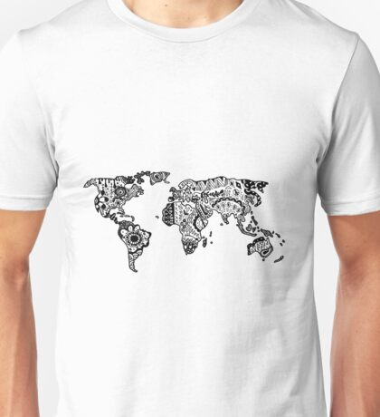 Map of the World Zentangle Unisex T-Shirt