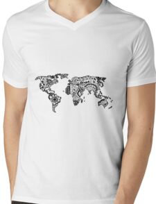 Map of the World Zentangle Mens V-Neck T-Shirt
