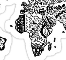 Map of the World Zentangle Sticker