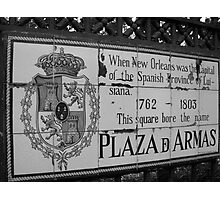 Plaza D Armas- New Orleans, Louisiana Photographic Print