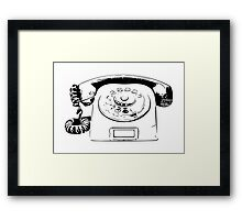 Retro Rotary Phone - Dumb Phone Framed Print