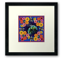 Green Fly with Flowers Framed Print