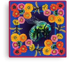 Green Fly with Flowers Canvas Print