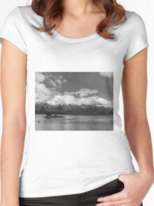 Lake Nahuel Huapi, Patagonia, Argentina (Black & white) Women's Fitted Scoop T-Shirt
