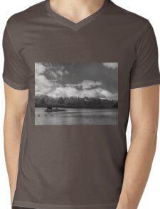 Lake Nahuel Huapi, Patagonia, Argentina (Black & white) Mens V-Neck T-Shirt