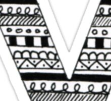 'V' Patterned Monogram Sticker