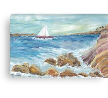 Surf on the Rocks Canvas Print