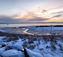 Snowy Sunset over the River Humber by Nick Barker