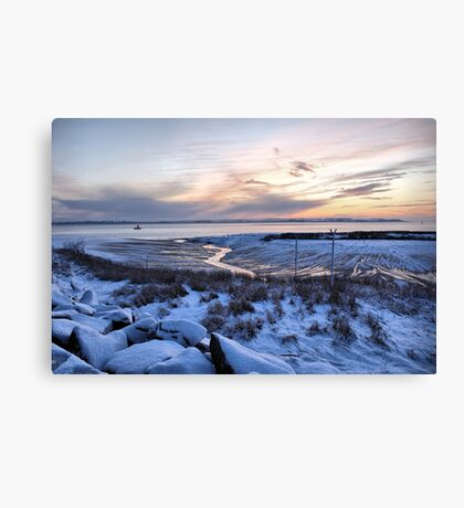 Snowy Sunset over the River Humber Canvas Print