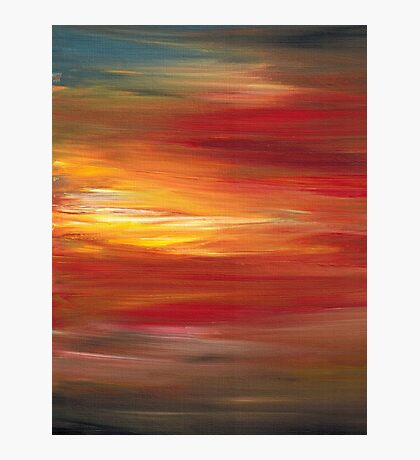 COLOR INTOXICATION 1 Colorcul Bold Deep Garnet Crimson Red Yellow Black Sunrise Sunset Ombre Abstract Acrylic Painting Photographic Print