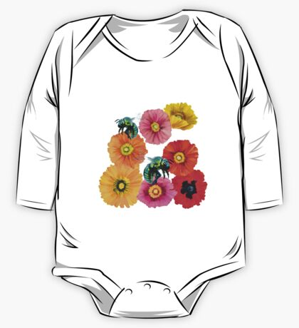 Green Fly with Flowers One Piece - Long Sleeve