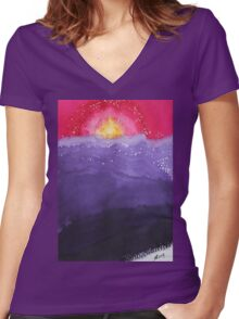 Fire on the Mountain original painting Women's Fitted V-Neck T-Shirt
