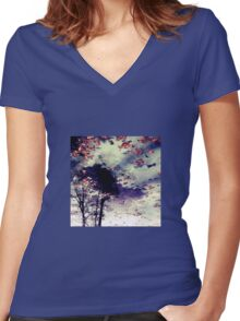 Water and Fall Women's Fitted V-Neck T-Shirt