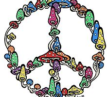 Peace symbol made of mushrooms. by Brett Gilbert