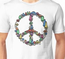 Peace symbol made of mushrooms. Unisex T-Shirt