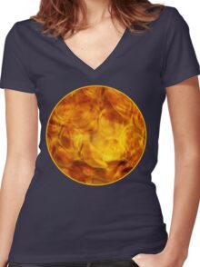 Orange Lamp Glass  Women's Fitted V-Neck T-Shirt