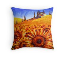 Tuscany Sunflower Hills Throw Pillow