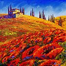 Tuscany Rolling Poppy Hills by sesillie