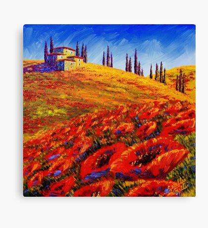 Tuscany Rolling Poppy Hills Canvas Print