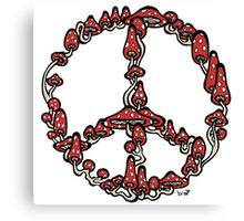 Peace Symbol Made of Mushrooms (red version) Canvas Print
