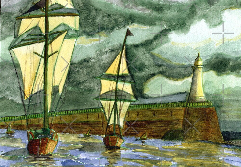 125 - TALL SHIPS LEAVING THE TYNE - DAVE EDWARDS - WATERCOLOUR - OCT 2003 by BLYTHART