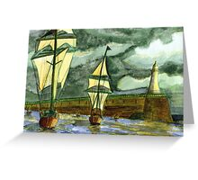 125 - TALL SHIPS LEAVING THE TYNE - DAVE EDWARDS - WATERCOLOUR - OCT 2003 Greeting Card