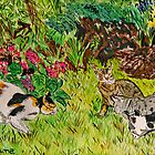 Cats In the Garden by Nira Dabush