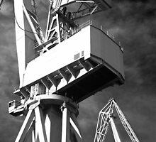 White dockyard cranes by Alex Ramsay