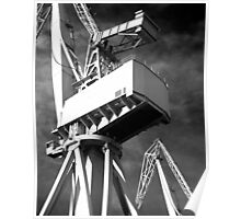 White dockyard cranes Poster