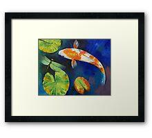 Kohaku Koi and Dragonfly Framed Print