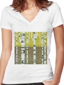 Fall Birches Women's Fitted V-Neck T-Shirt