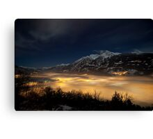 Aosta by foggy night Canvas Print