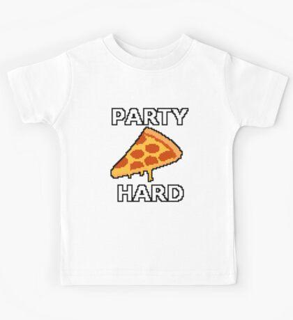 Party Hard Pizza Pixel Art Kids Tee