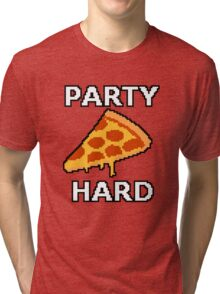Party Hard Pizza Pixel Art Tri-blend T-Shirt