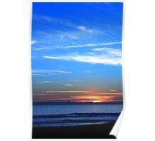 Sunset Ocean Blue Poster