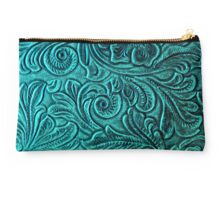 Turquoise Embossed Tooled Leather Floral Scrollwork Design Studio Pouch