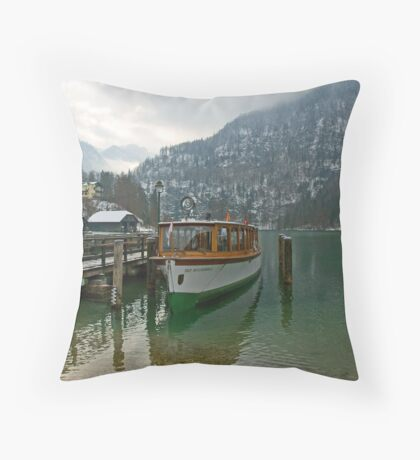 Old boat on Königsee Throw Pillow