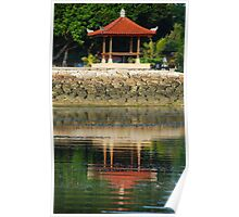 Balinese pagoda reflecting in the sea Poster