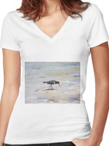 Pied Oystercatcher  Women's Fitted V-Neck T-Shirt