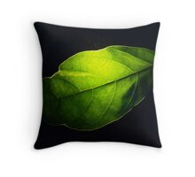 Green Leaf on Black Background Throw Pillow