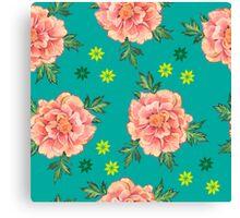 - Peony turquoise pattern - Canvas Print