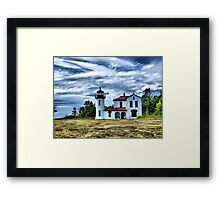 Lighthouse Under the Clouds Framed Print