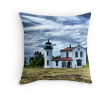 Lighthouse Under the Clouds Throw Pillow