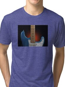Fender Stratocaster In Blue Sparkle Cutaway Detail Tri-blend T-Shirt