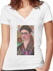 The Woman of Endless Creativity  Women's Fitted V-Neck T-Shirt