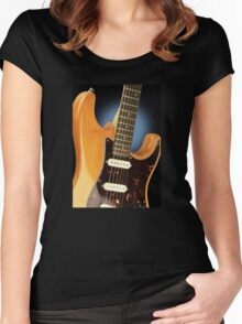 Fender Stratocaster Electric Guitar Natural Women's Fitted Scoop T-Shirt