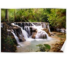Limestone Falls in Lao Upcountry Poster
