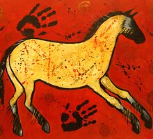 Primitive Horse Cave Painting -- Red by carolsuzanne