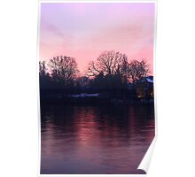 Pinky sunset over the river Po Poster