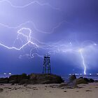 Lightning At Redhead by Naomi Frost